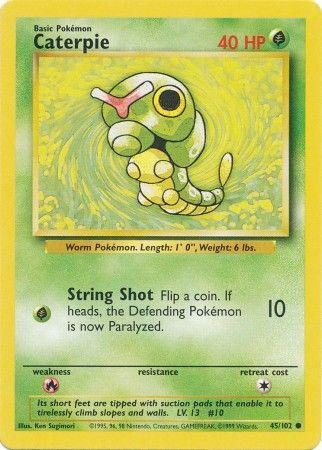 45/102 Caterpie Common Base Set Unlimited - The Feisty Lizard