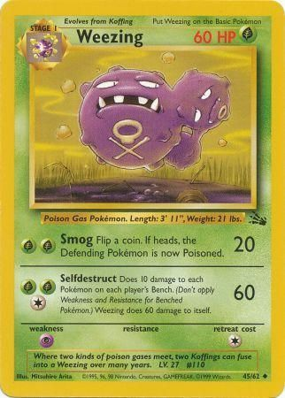 45/62 Weezing Uncommon Fossil Set Unlimited - The Feisty Lizard