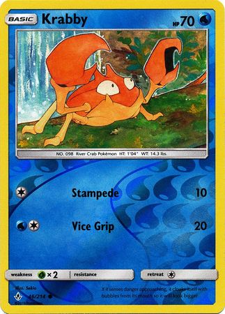 46/214 Krabby Common Reverse Holo Unbroken Bonds - The Feisty Lizard