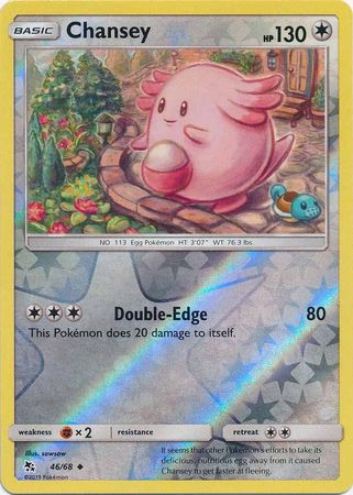 46/68 Chansey Uncommon Reverse Holo Hidden Fates - The Feisty Lizard Melbourne Australia