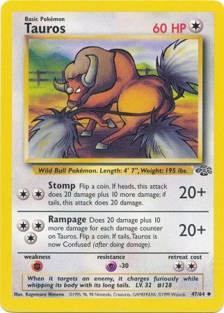 47/64 Tauros Uncommon Jungle Set Unlimited - The Feisty Lizard Melbourne Australia