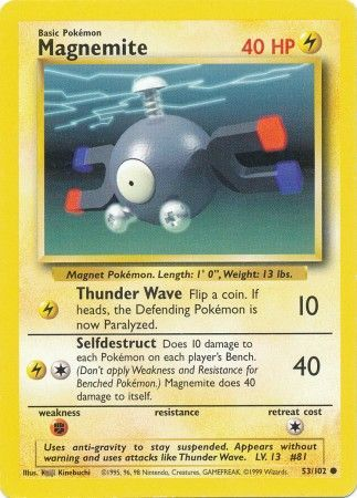 53/102 Magnemite Common Base Set Unlimited - The Feisty Lizard