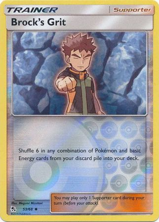 53/68 Brock's Grit Trainer Uncommon Reverse Holo Hidden Fates - The Feisty Lizard Melbourne Australia