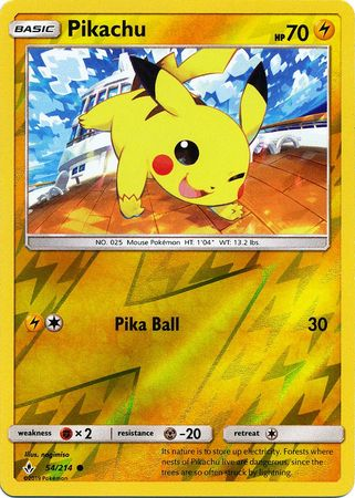 54/214 Pikachu Common Reverse Holo Unbroken Bonds - The Feisty Lizard