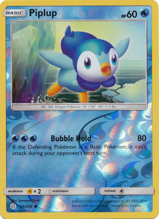 54/236 Piplup Common Reverse Holo Cosmic Eclipse - The Feisty Lizard