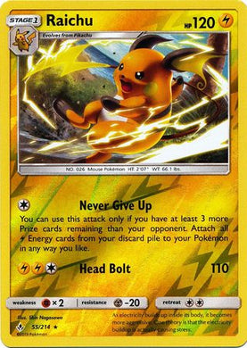 55/214 Raichu Rare Reverse Holo Unbroken Bonds - The Feisty Lizard