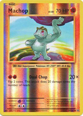 57/108 Machop Common Reverse Holo XY Evolutions - The Feisty Lizard Melbourne Australia