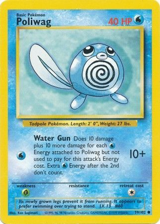 59/102 Poliwag Common Base Set Unlimited - The Feisty Lizard Melbourne Australia