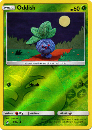 6/214 Oddish Common Reverse Holo Unbroken Bonds - The Feisty Lizard