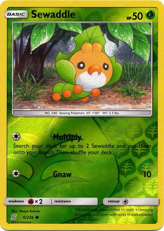 6/236 Sewaddle Common Reverse Holo - The Feisty Lizard