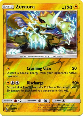 60/214 Zeraora Rare Reverse Holo Unbroken Bonds - The Feisty Lizard