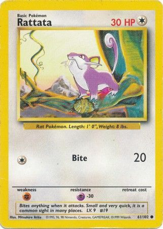 61/102 Rattata Common Base Set Unlimited - The Feisty Lizard