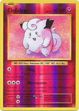 63/108 Clefairy Rare Reverse Holo XY Evolutions - The Feisty Lizard Melbourne Australia