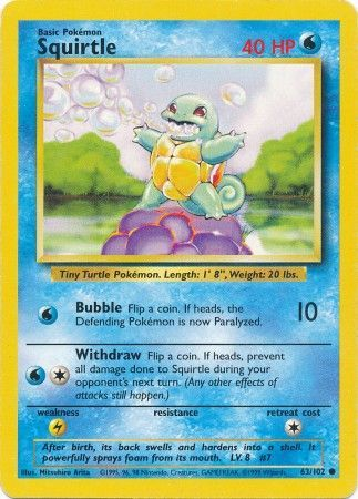 63/102 Squirtle Common Base Set Unlimited - The Feisty Lizard