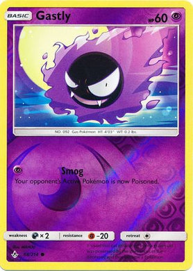 68/214 Gastly Common Reverse Holo Unbroken Bonds - The Feisty Lizard