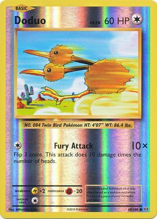 69/108 Doduo Common Reverse Holo XY Evolutions - The Feisty Lizard Melbourne Australia