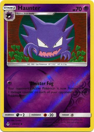69/214 Haunter Uncommon Reverse Holo Unbroken Bonds - The Feisty Lizard