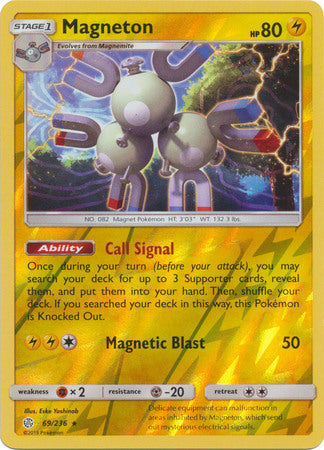 69/236 Magneton Rare Holo Reverse Holo Cosmic Eclipse - The Feisty Lizard Melbourne Australia