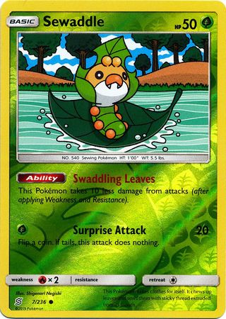 7/236 Sewaddle Common Reverse Holo - The Feisty Lizard