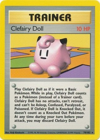 70/102 Clefairy Doll Trainer Rare Base Set Unlimited - The Feisty Lizard