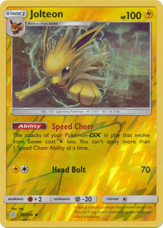 70/236 Jolteon Uncommon Reverse Holo Cosmic Eclipse - The Feisty Lizard