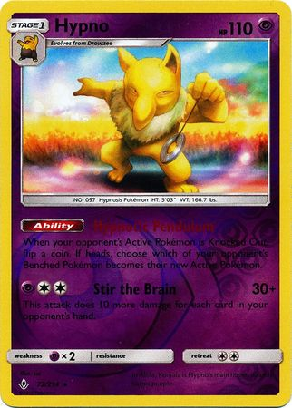 72/214 Hypno Rare Reverse Holo Unbroken Bonds - The Feisty Lizard