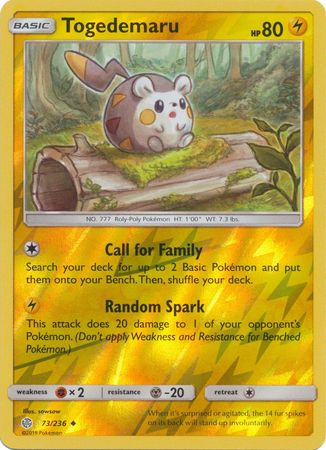 73/236 Togedemaru Uncommon Reverse Holo Cosmic Eclipse - The Feisty Lizard