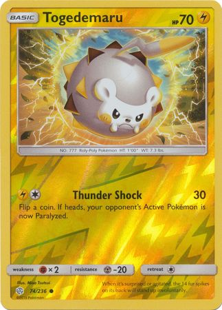 74/236 Togedemaru Common Reverse Holo Cosmic Eclipse - The Feisty Lizard Melbourne Australia