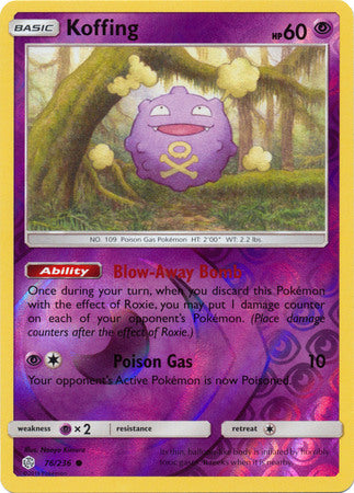 76/236 Koffing Common Reverse Holo Cosmic Eclipse - The Feisty Lizard