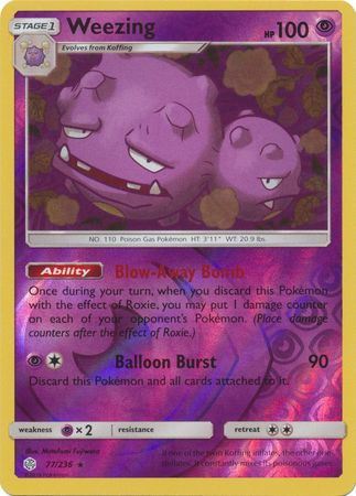 77/236 Weezing Rare Reverse Holo Cosmic Eclipse - The Feisty Lizard