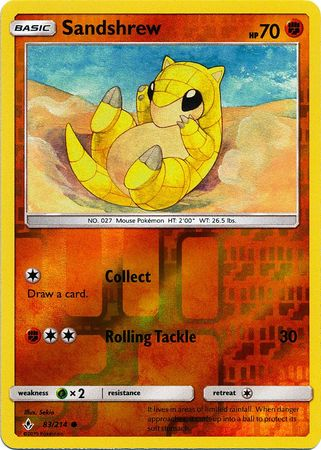 83/214 Sandshrew Common Reverse Holo Unbroken Bonds - The Feisty Lizard