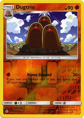 86/214 Dugtrio Rare Reverse Holo Unbroken Bonds - The Feisty Lizard