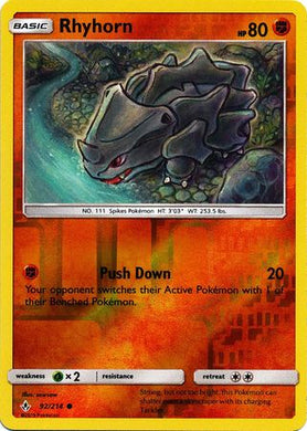 92/214 Rhyhorn Common Reverse Holo Unbroken Bonds - The Feisty Lizard