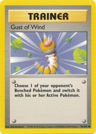 93/102 Gust of Wind Trainer Common Base Set Unlimited - The Feisty Lizard Melbourne Australia