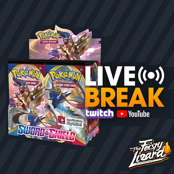 Pokemon TCG Sword & Shield Booster Box LIVE BREAK! (4 SPOTS) - The Feisty Lizard