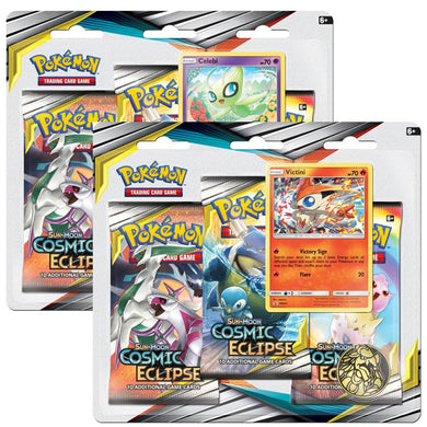 Pokemon TCG Cosmic Eclipse Three Booster Blister - The Feisty Lizard