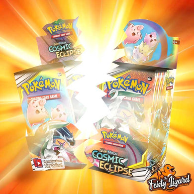 Pokemon TCG  Sun & Moon Cosmic Eclipse Booster Box LIVE BREAK! (9 SPOTS) - The Feisty Lizard