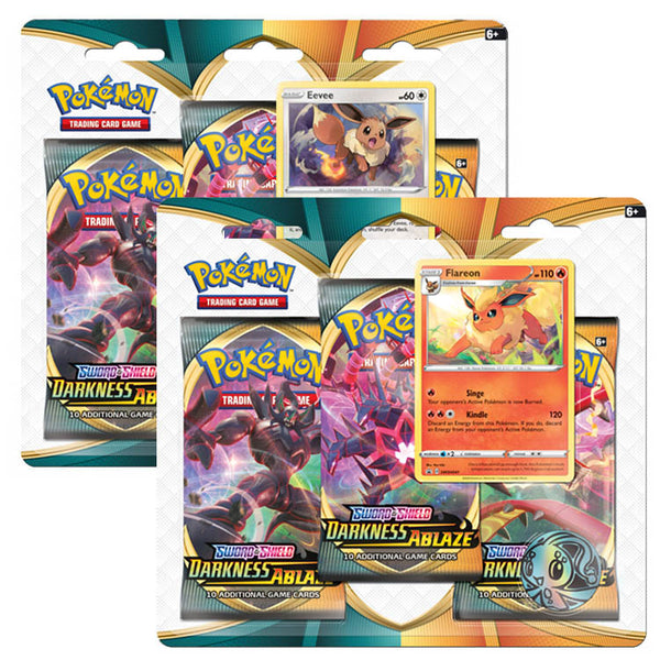 Pokemon TCG Sword & Shield Darkness Ablaze Three Booster Blister