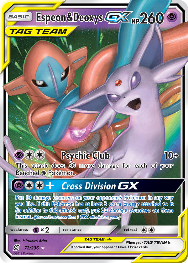 72/236 Espeon & Deoxys Tag Team GX Unified Minds - The Feisty Lizard Melbourne Australia
