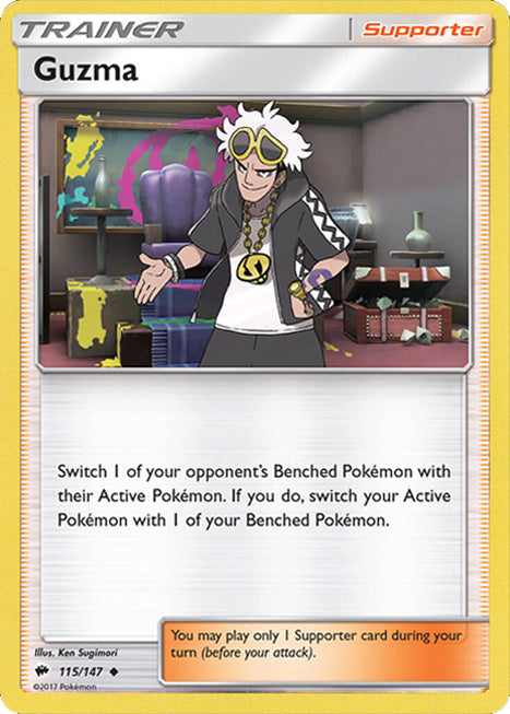 Guzma 115/147 Burning Shadows Trainer - The Feisty Lizard