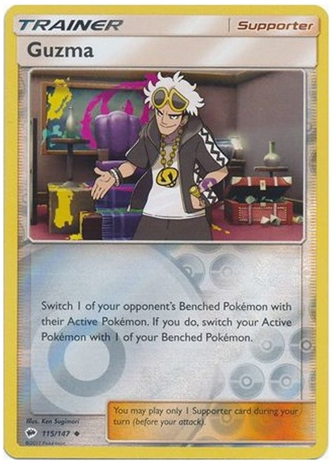 Guzma 115/147 Burning Shadows Reverse Holo Trainer - The Feisty Lizard