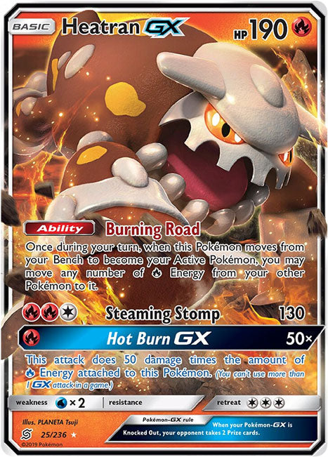 25/236 Heatran GX Unified Minds - The Feisty Lizard