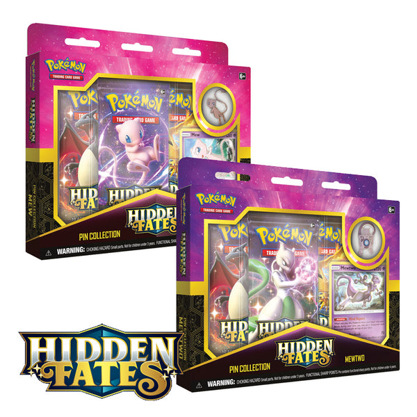 Pokemon TCG Hidden Fates Pin Collection Mewtwo or Mew (PRE-ORDER) - The Feisty Lizard
