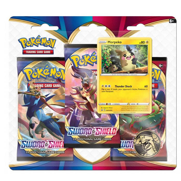 Pokemon TCG Sword & Shield Three Pack Booster Blister - The Feisty Lizard Melbourne Australia