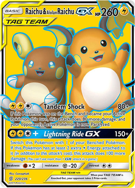220/236 Raichu & Alolan Raichu GX Tag Team Ultra Rare - The Feisty Lizard