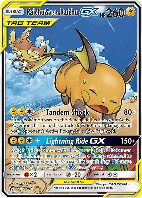 221/236 Raichu & Alolan Raichu GX Tag Team Ultra Rare - The Feisty Lizard