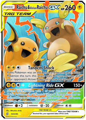 54/236 Raichu & Alolan Raichu Tag Team GX Unified Minds - The Feisty Lizard