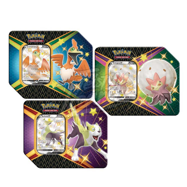 Pokemon TCG Shining Fates Boltund, Cramorant & Eldegoss V Tin (PRE-ORDER) - The Feisty Lizard