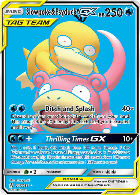 217/236 Slowpoke & Psyduck GX Tag Team Ultra Rare - The Feisty Lizard