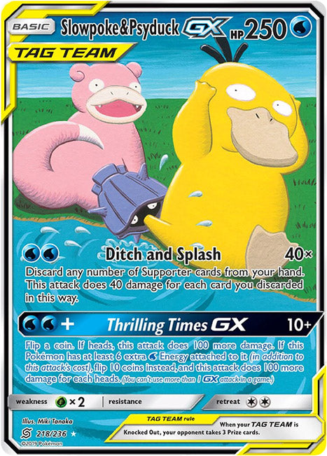 218/236 Slowpoke & Psyduck GX Tag Team Ultra Rare - The Feisty Lizard